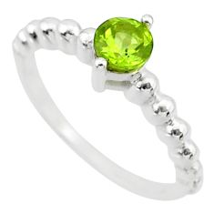 0.91cts solitaire natural green peridot 925 sterling silver ring size 6.5 r87213