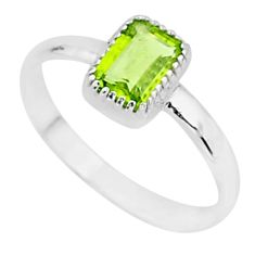 1.58cts solitaire natural green peridot 925 sterling silver ring size 10 t7397