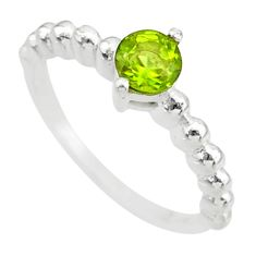 0.99cts solitaire natural green peridot 925 sterling silver ring size 6 r87186