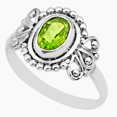 1.74cts solitaire natural green peridot 925 sterling silver ring size 6 r87267