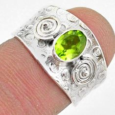 1.37cts solitaire natural green peridot 925 sterling silver ring size 6 t42222