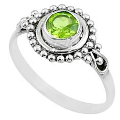 0.99cts solitaire natural green peridot 925 sterling silver ring size 6 t51957