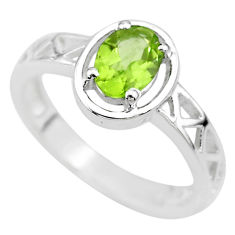 1.51cts solitaire natural green peridot 925 sterling silver ring size 6 t8021