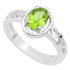 1.51cts solitaire natural green peridot 925 sterling silver ring size 6 t8023