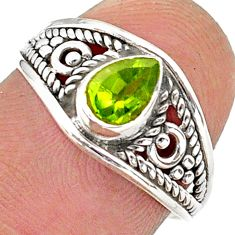 1.58cts solitaire natural green peridot 925 sterling silver ring size 7 t40068