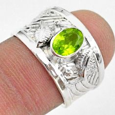 1.57cts solitaire natural green peridot 925 sterling silver ring size 7 t42224