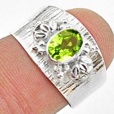 1.54cts solitaire natural green peridot 925 sterling silver ring size 7 t42227