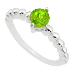 0.99cts solitaire natural green peridot 925 sterling silver ring size 8 r87240