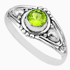0.90cts solitaire natural green peridot 925 sterling silver ring size 8 r87290