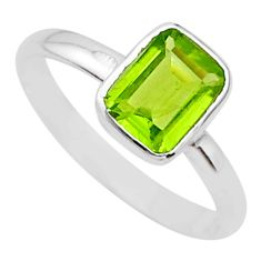 2.10cts solitaire natural green peridot 925 sterling silver ring size 8 t36613