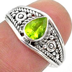 1.57cts solitaire natural green peridot 925 sterling silver ring size 8 t39990