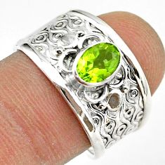 1.63cts solitaire natural green peridot 925 sterling silver ring size 8 t42229