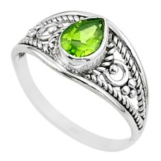 1.44cts solitaire natural green peridot 925 sterling silver ring size 8 t51946