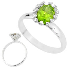 2.41cts solitaire natural green peridot 925 sterling silver ring size 8 t7209