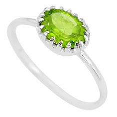 2.04cts solitaire natural green peridot 925 sterling silver ring size 8 t8101