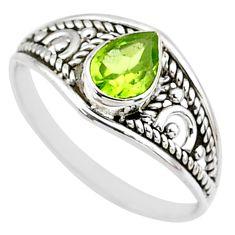 1.56cts natural cut peridot 925 silver graduation handmade ring size 8 t9260