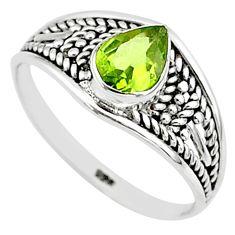 1.57cts natural cut peridot 925 silver graduation handmade ring size 9 t9554