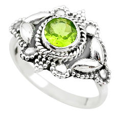 1.22cts solitaire natural green peridot 925 sterling silver ring size 6.5 t19895