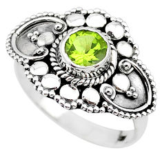 1.11cts solitaire natural green peridot 925 sterling silver ring size 7.5 t19937