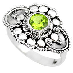 1.17cts solitaire natural green peridot 925 sterling silver ring size 6.5 t19940