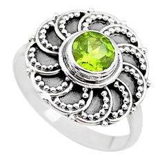 1.12cts solitaire natural green peridot 925 sterling silver ring size 7.5 t19991