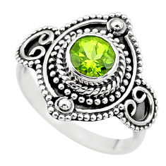 1.09cts solitaire natural green peridot 925 sterling silver ring size 7.5 t20017