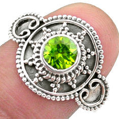 1.09cts solitaire natural green peridot 925 sterling silver ring size 8.5 t46197