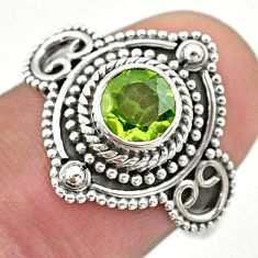1.20cts solitaire natural green peridot 925 sterling silver ring size 7.5 t46199