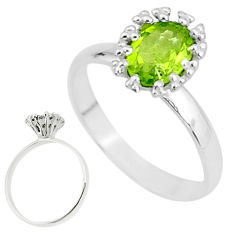 2.42cts solitaire natural green peridot 925 sterling silver ring size 7.5 t7242