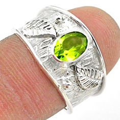 1.38cts solitaire natural green peridot oval sterling silver ring size 7 t42225