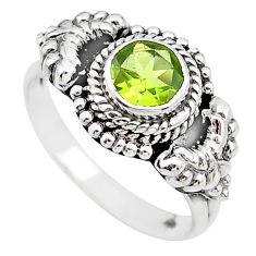 1.18cts solitaire natural green peridot round 925 silver ring size 7 t19868