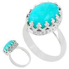 6.39cts solitaire natural green peruvian amazonite 925 silver ring size 7 t20392