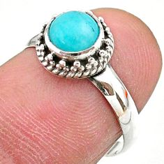 0.97cts solitaire natural green peruvian amazonite 925 silver ring size 7 t27376