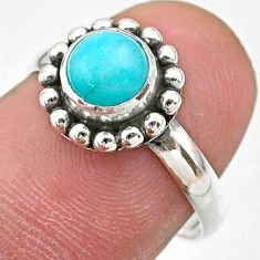 1.07cts solitaire natural green peruvian amazonite 925 silver ring size 7 t27378