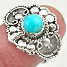 1.09cts solitaire natural green peruvian amazonite 925 silver ring size 7 t27390