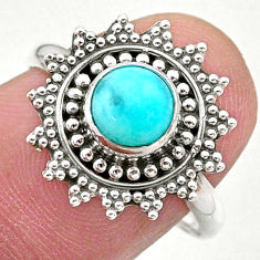 1.13cts solitaire natural green peruvian amazonite 925 silver ring size 8 t27387