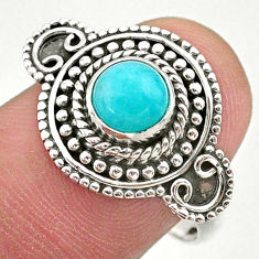 1.01cts solitaire natural green peruvian amazonite 925 silver ring size 8 t27393