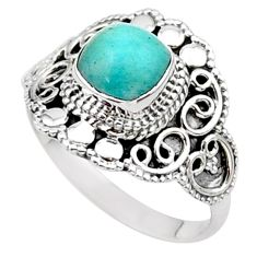 2.53cts solitaire natural green peruvian amazonite 925 silver ring size 9 t27088