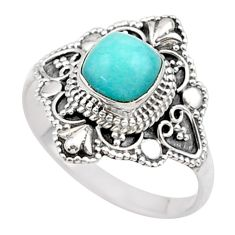 2.71cts solitaire natural green peruvian amazonite silver ring size 10 t27117