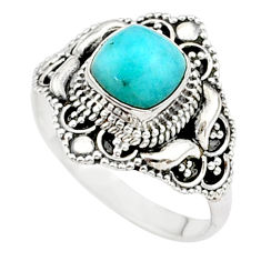 2.44cts solitaire natural green peruvian amazonite silver ring size 7.5 t27097