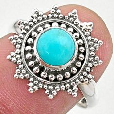 0.98cts solitaire natural green peruvian amazonite silver ring size 7.5 t27383