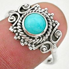 0.98cts solitaire natural green peruvian amazonite silver ring size 8.5 t27481