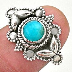 1.10cts solitaire natural green peruvian amazonite silver ring size 6.5 t27523