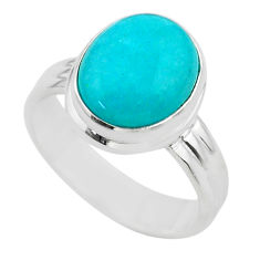 5.11cts solitaire natural green peruvian amazonite silver ring size 7.5 t28903