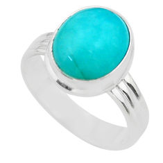 5.32cts solitaire natural green peruvian amazonite silver ring size 8.5 t29073