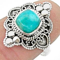 1.14cts solitaire natural green peruvian amazonite silver ring size 7.5 t30717