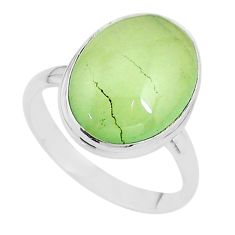 13.34cts solitaire natural green prehnite 925 silver ring size 11 t17782