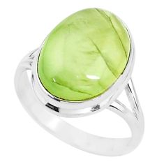 14.50cts solitaire natural green prehnite 925 silver ring size 10.5 t15401