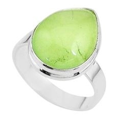 13.05cts solitaire natural green prehnite 925 silver ring size 10.5 t17791