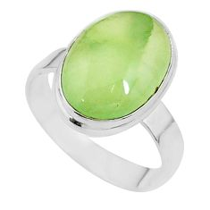 9.95cts solitaire natural green prehnite 925 sterling silver ring size 11 t17785